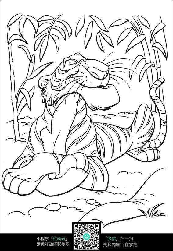 卡通得意的老虎手绘线描图片