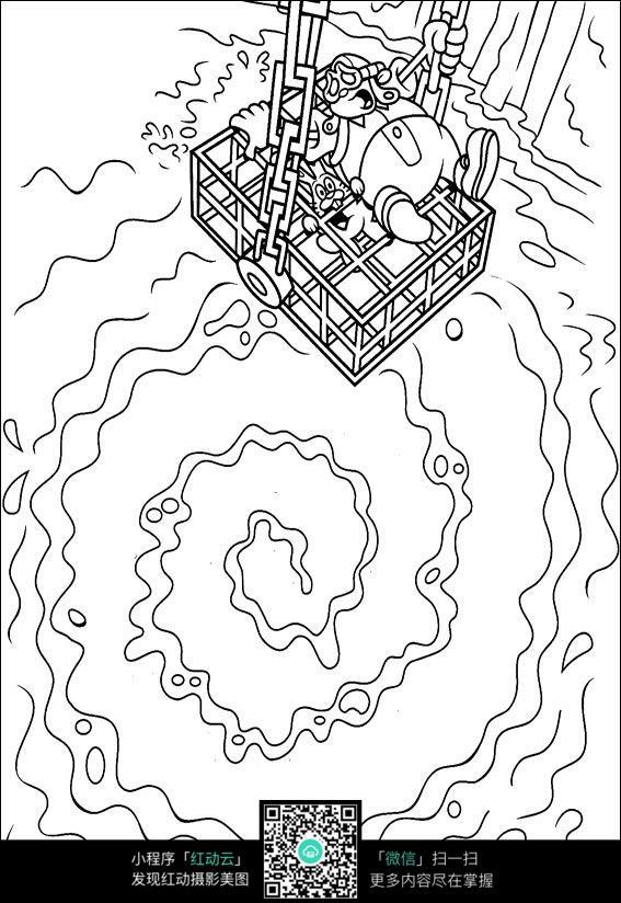 卡通吊车水面手绘线描图片