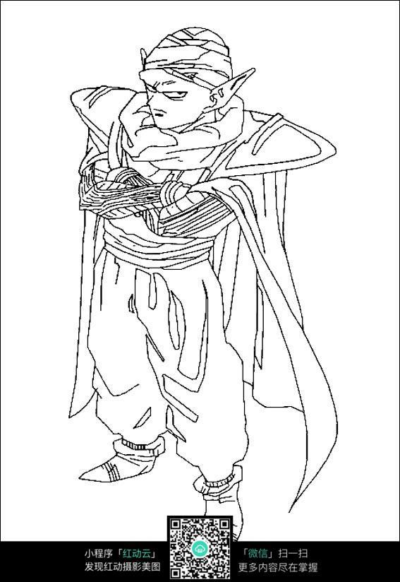 钢笔画  人物线描  漫画手绘 素材 速写 涂鸦  写生  七龙珠 孙悟空