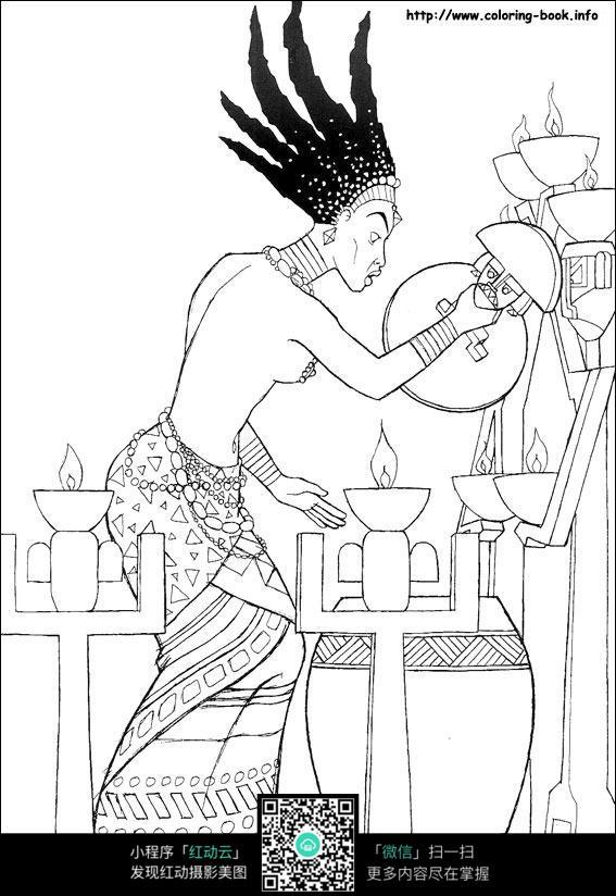卡通愤怒的女王手绘线描图片