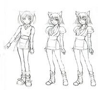 卡通服装统一的猫人