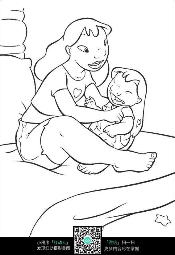 卡通给宝宝穿衣服的妈妈手绘线描图片