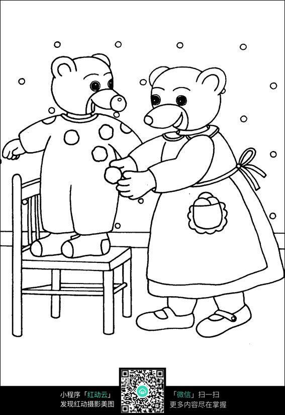 卡通给小熊穿衣服的小熊手绘线描图片