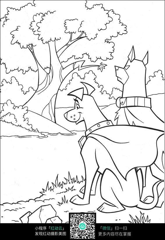 卡通狗狗过河
