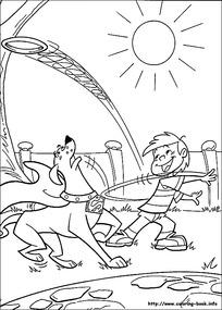 卡通和小狗玩耍的小孩手绘线描图片