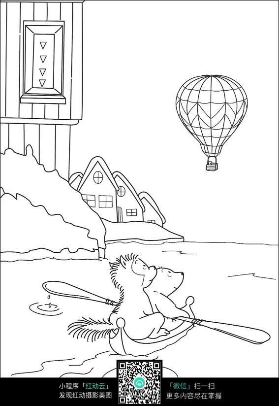 卡通划船的狮子猴子热气球手绘线描图片