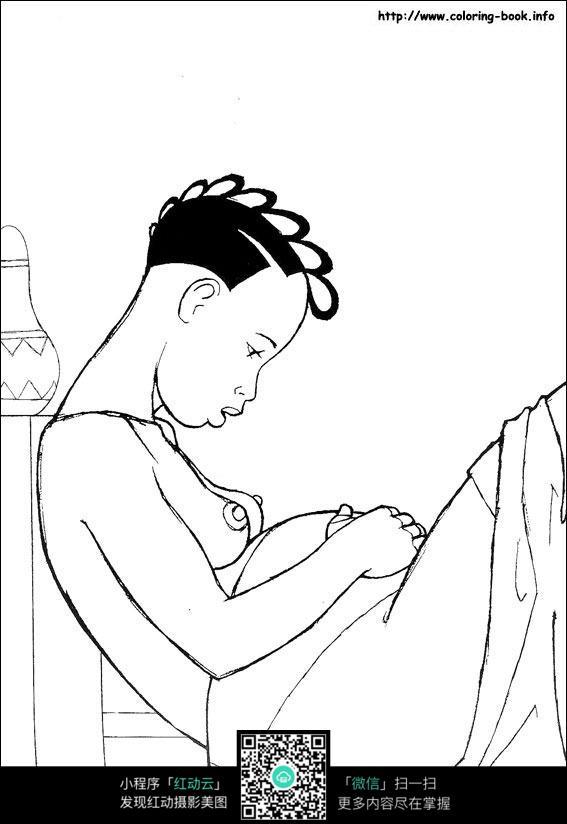 卡通怀孕的女人手绘线描图片素材