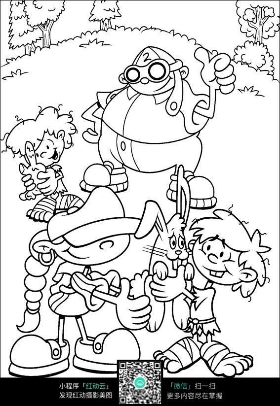 卡通欢乐小朋友手绘线描图片