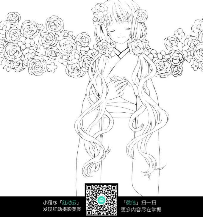 卡通花仙子美少女线描图片素材