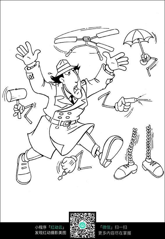 卡通焦头烂耳的大叔手绘线描图片_人物卡通图片