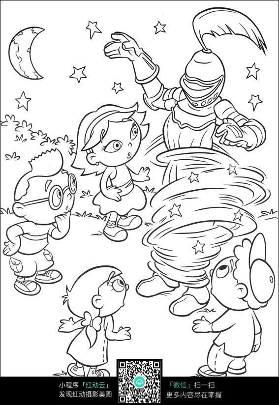 卡通机器人小孩手绘线描图片