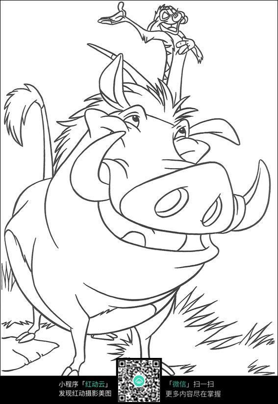 卡通开心野猪手绘线描图片