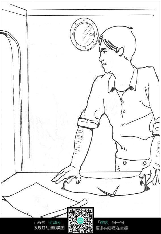卡通看地图的男人手绘线描图片素材