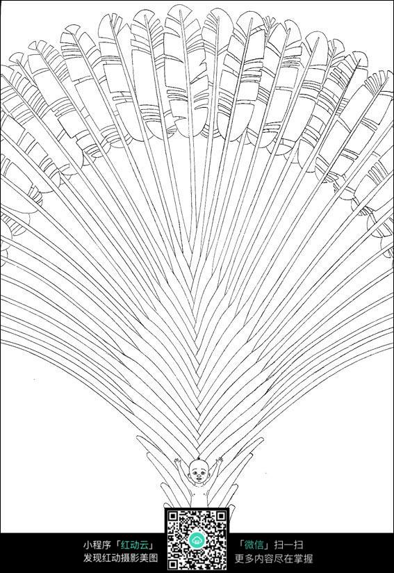 卡通孔雀小孩手绘线描图片