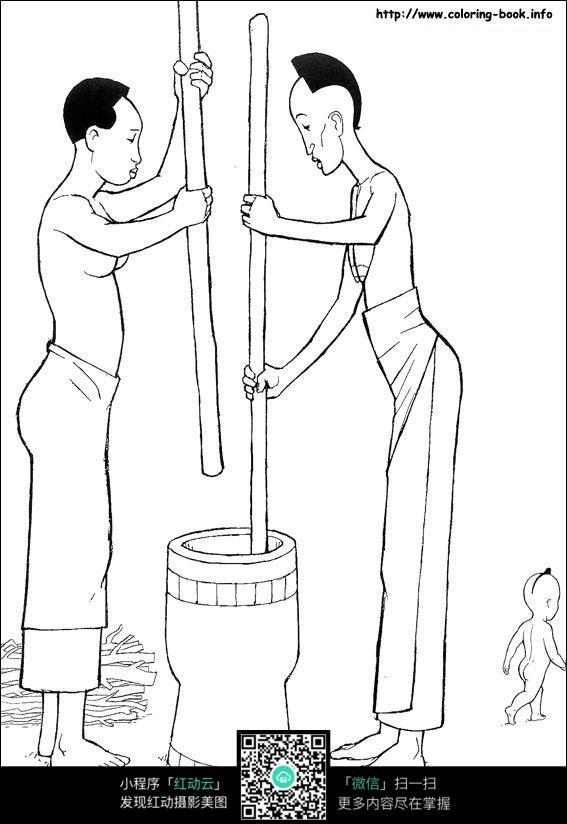 卡通劳作的人手绘线描图