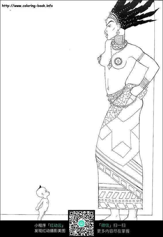 卡通妈妈小孩手绘线描图