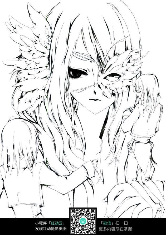 卡通美女手绘线稿图片