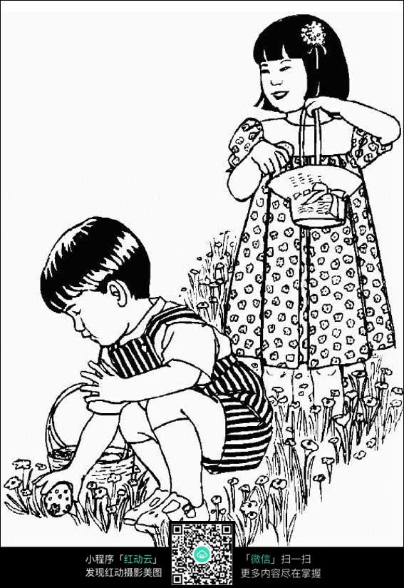 手绘男孩漫画侧身图片