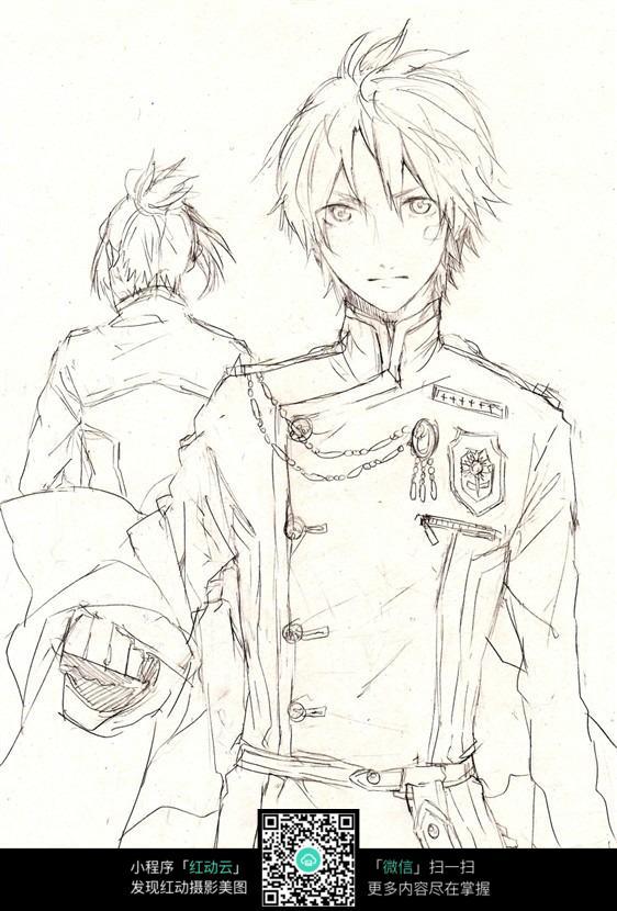 动漫男生铅笔手绘