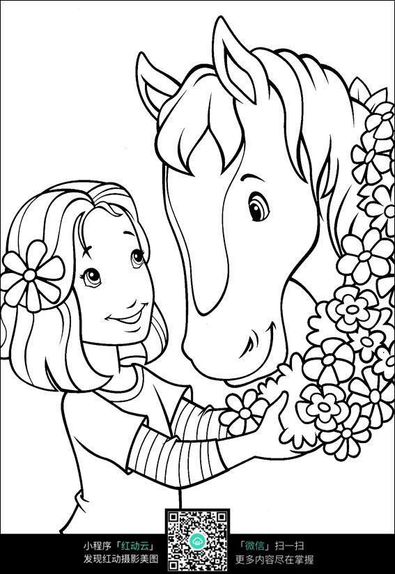 人物绘画  钢笔画  漫画手绘 素材 速写 涂鸦  写生 卡通女孩和戴