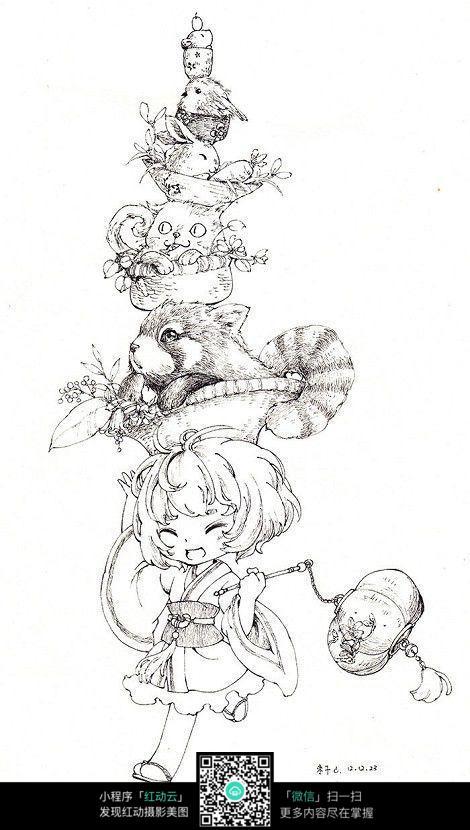 卡通女孩和小动物一起奔跑