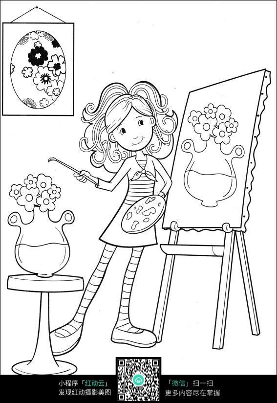 卡通女孩画画_人物卡通图片