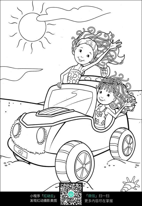 卡通女孩开着敞篷车