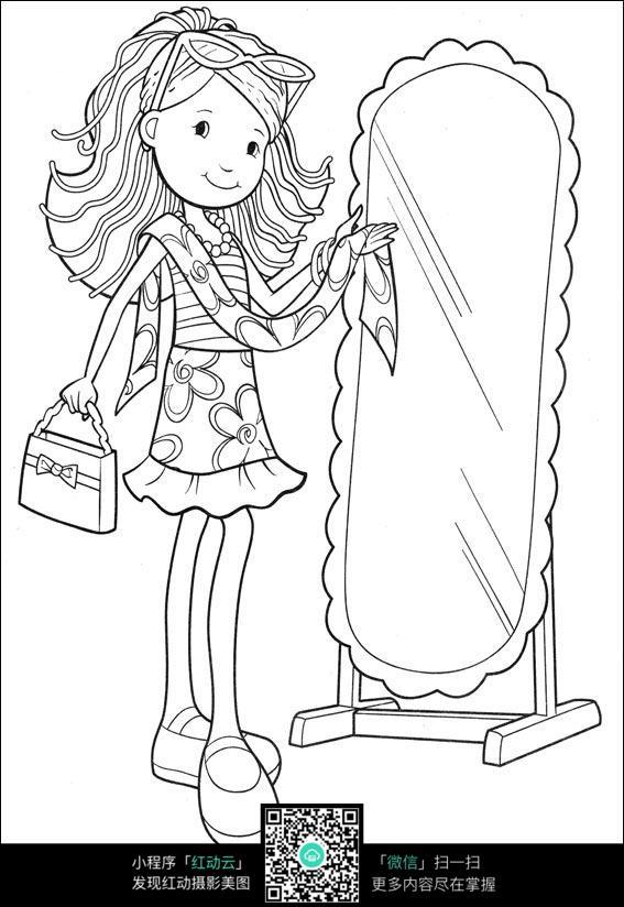 照镜子化妆的女孩,卡通人物图片