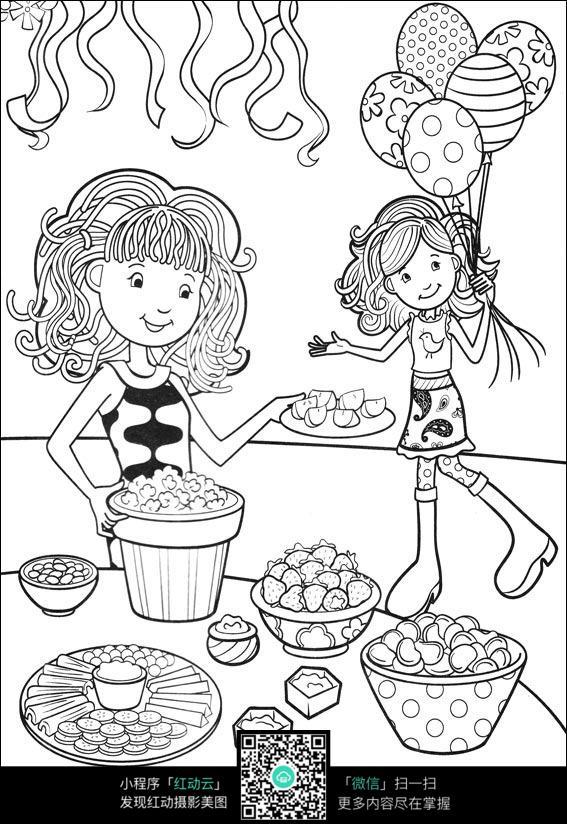 卡通女孩准备生日晚餐