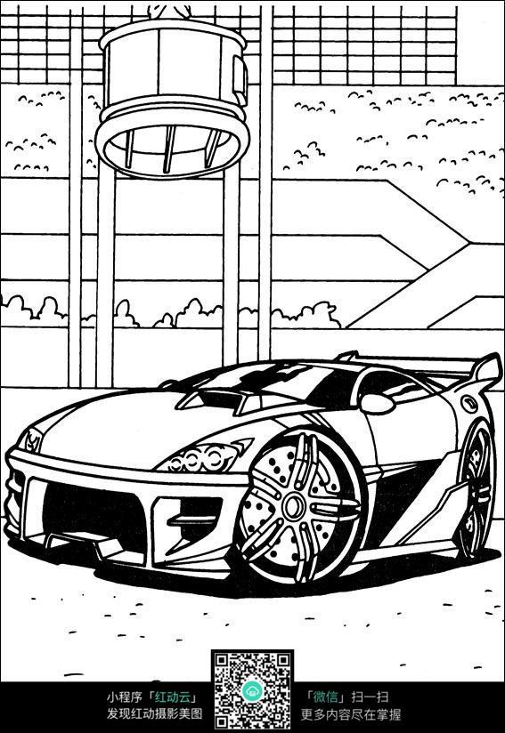 卡通跑车手绘线描图片