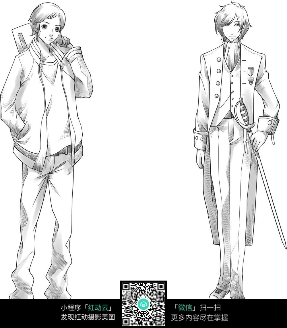 卡通日本武士拿剑的男孩图片