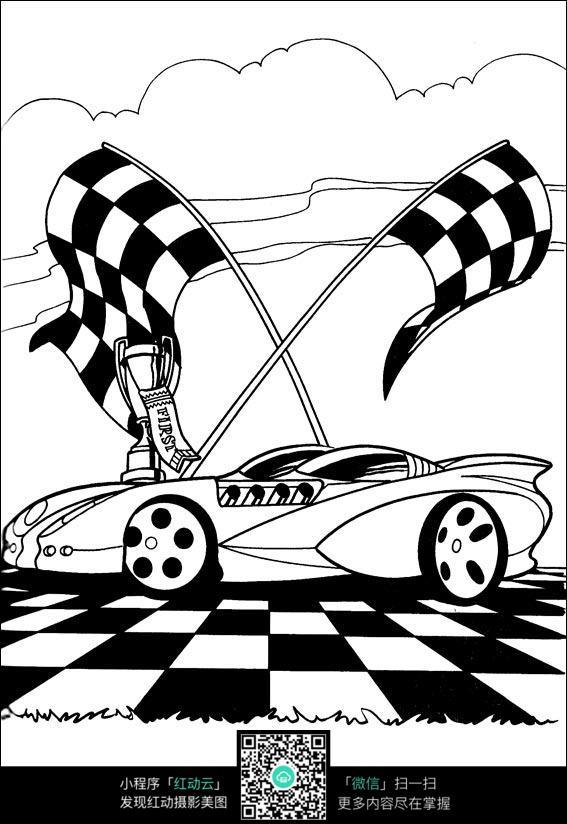 卡通赛车冠军手绘线描图片