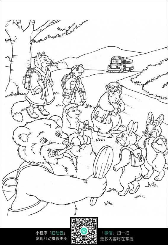 卡通森林里的动物