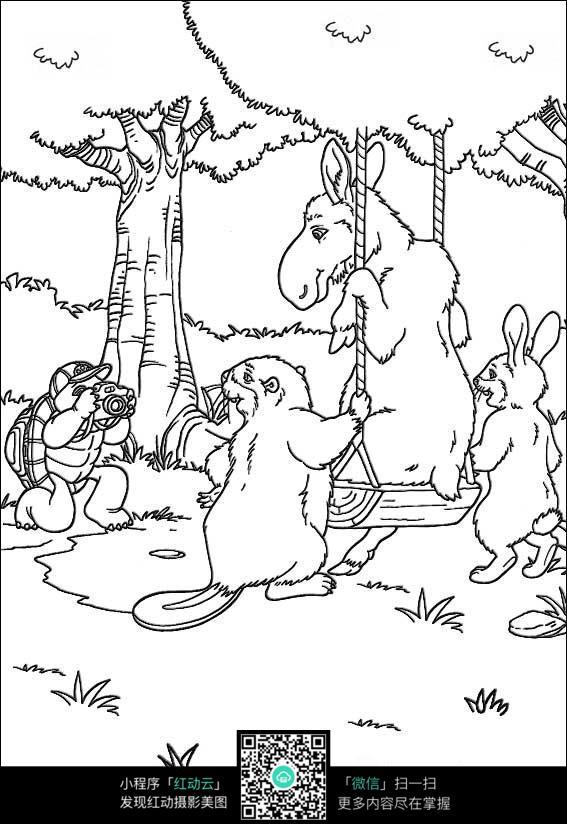 卡通森林里的小动物