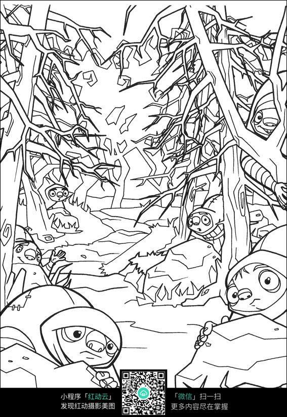 卡通森林士兵手绘线描图片
