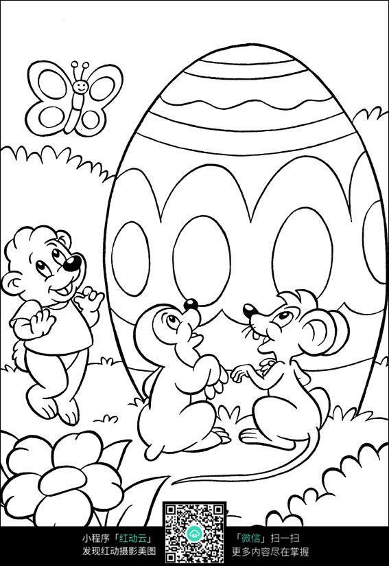 卡通森林小动物遇到彩蛋