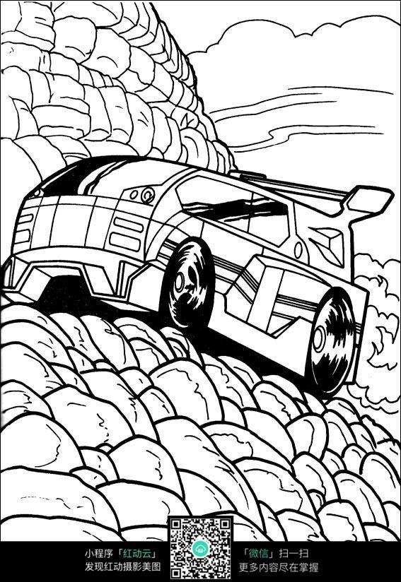 卡通山地赛车手绘线描图片