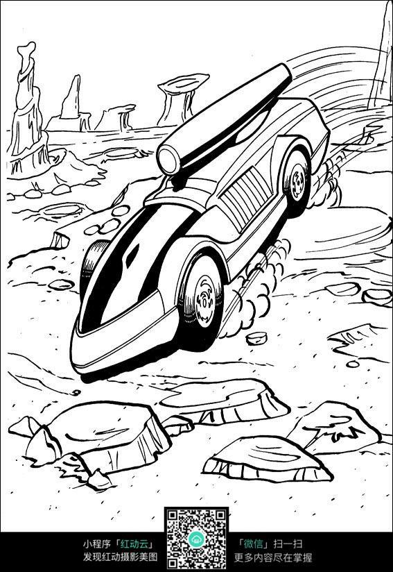 卡通山地越野车手绘线描图片