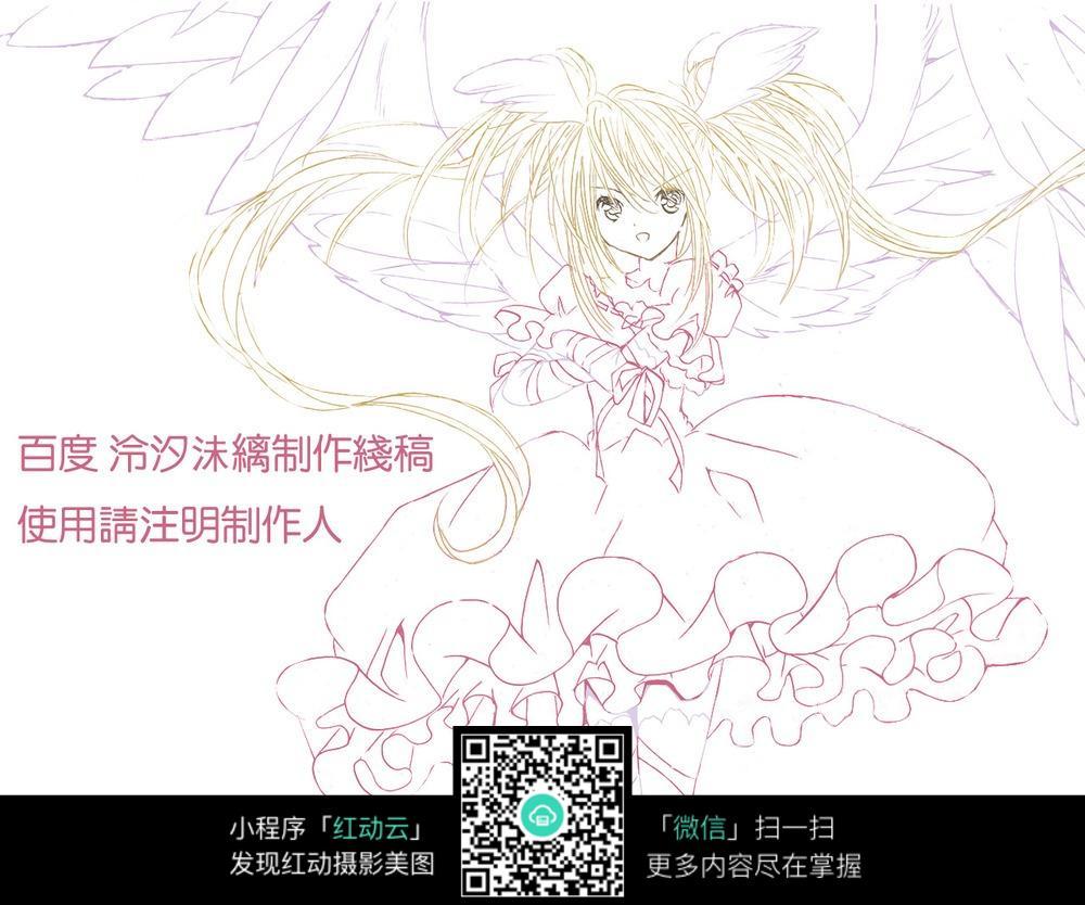 卡通少女手绘线稿图片