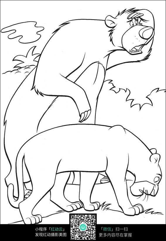 卡通狮子小熊手绘线描图片