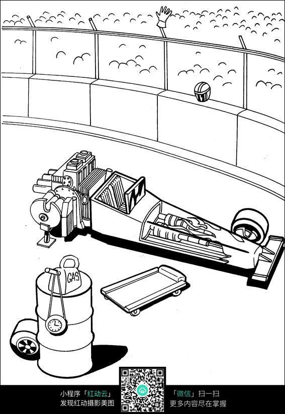 卡通拖货车手绘线描图片