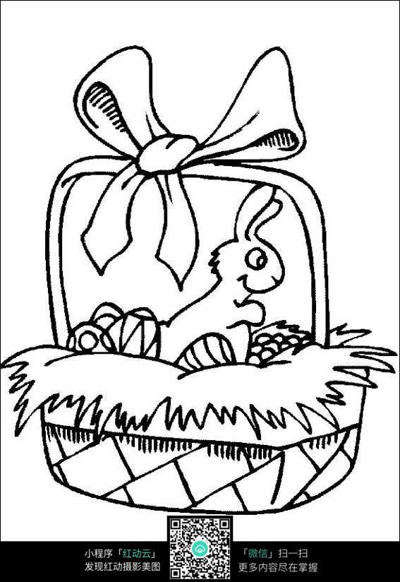 卡通兔子坐着篮子里守护彩蛋图片免费下载 编号3725602 红动网