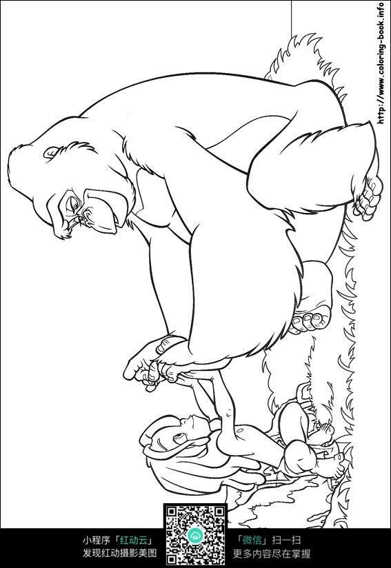 卡通玩耍的猩猩小孩手绘线描图片