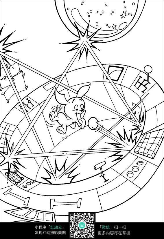 卡通玩游戏的小狗手绘线描图片