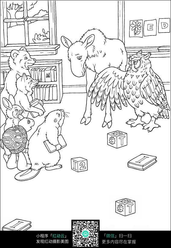 手绘画古代飘逸美女小动物
