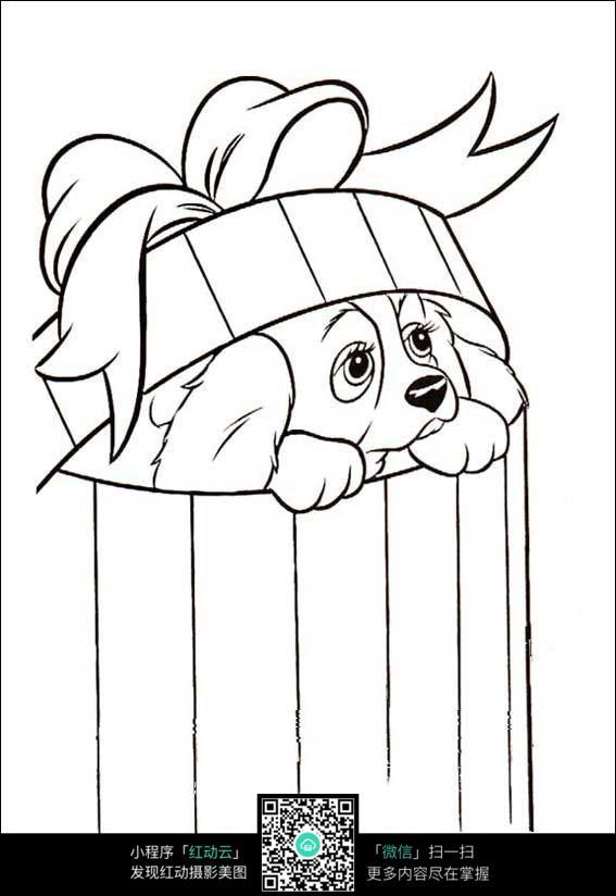 卡通小狗藏在垃圾桶里