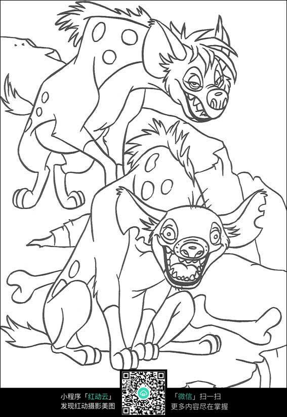 卡通小狗手绘线描图片