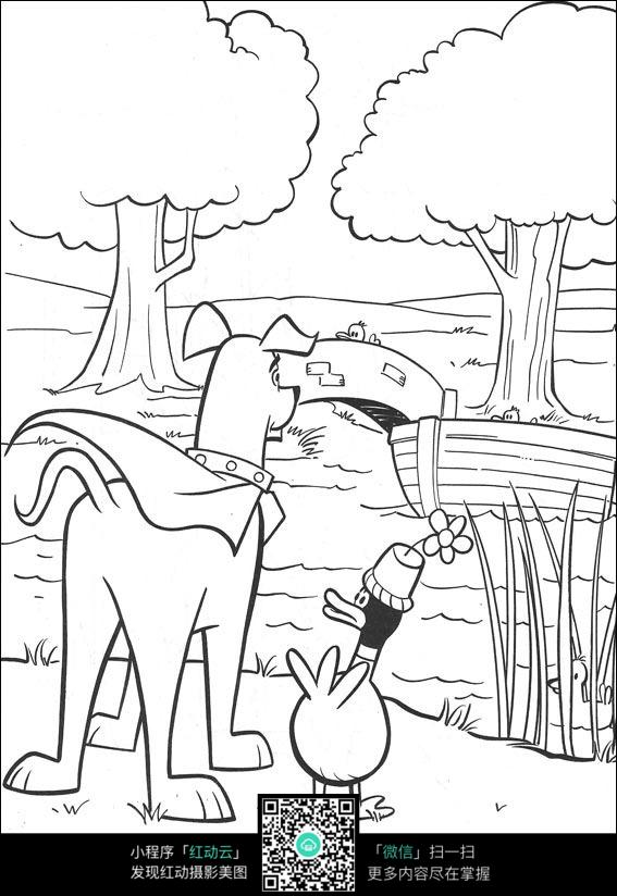 卡通小狗鸭子手绘线描图片