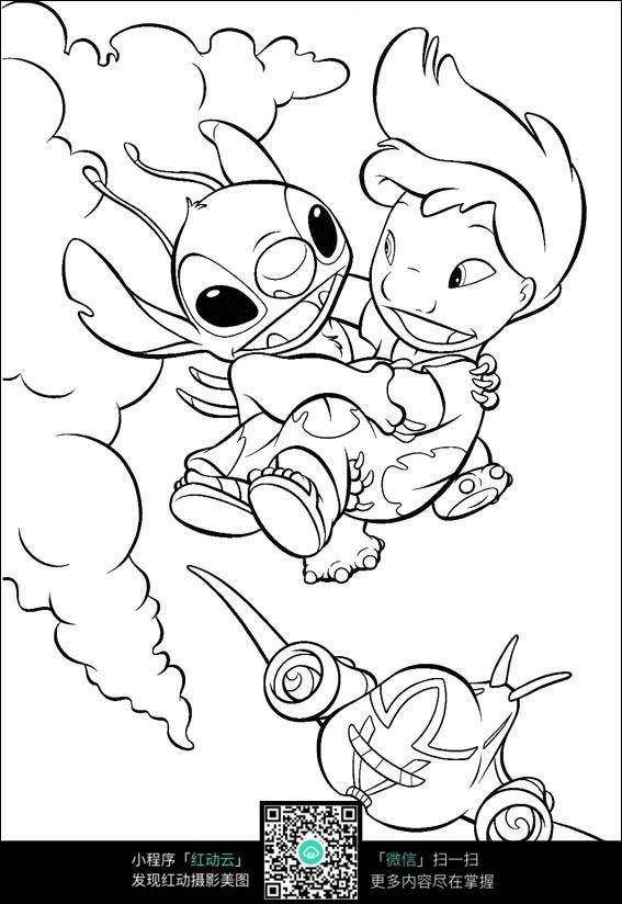 卡通小怪兽小男孩手绘线描图