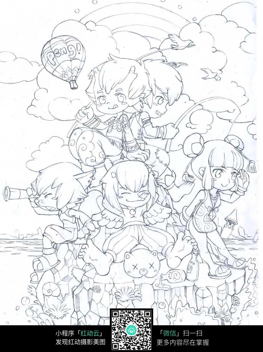 卡通小孩手绘线稿